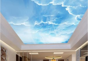 Ceiling Decals Mural Custom 3d Wallpaper Blue Sky White Clouds Ceiling Wall Murals