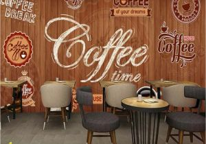 Chair Rail Wallpaper Murals Beibehang Custom Wallpaper Murals Wood Shading Retro Coffee Label