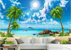 Cheap Beach Wall Murals 3d Wall Murals Wallpaper Custom 3d Photo Sea Coconut Beach Wallpaper