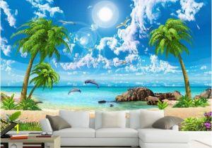 Cheap Beach Wall Murals 3d Wall Murals Wallpaper Custom 3d Photo Sea Coconut Beach Wallpaper
