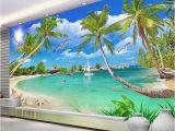 Cheap Beach Wall Murals Custom 3 D Wallpaper Wall Murals 3d Wallpaper Beach Tree Waves