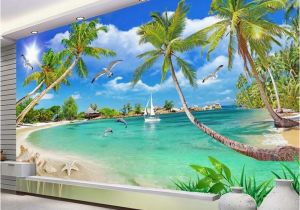 Cheap Beach Wall Murals Custom 3 D Wallpaper Wall Murals 3d Wallpaper Beach Tree Waves
