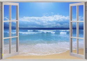 Cheap Beach Wall Murals Huge 3d Window Exotic Beach View Wall Stickers Mural Art Decal