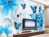 Cheap Custom Wall Murals Simple Wallpaper 3d Mural Tv Background Wall Mural Living Room Wall Covering Blue Lily Custom Wallpaper sofa Background Wall