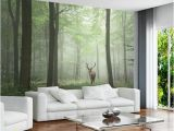 Cheap forest Wall Murals Custom Modern 3d Wallpaper Stereo Effect Simple nordic Vintage Background Wall Mural Fog Elk forest Wallpaper for Living Room Wallpaper Borders