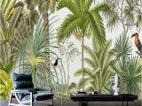 Cheap forest Wall Murals Retro Tropical Rain forest Wallpaper southeast asia Plant