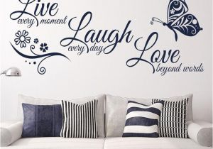 Cheap Wall Murals and Decals Kedode Live Laugh Love Text Stickers butterfly Wall Art Wallpaper