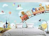 Cheetah Print Wall Mural Cartoon Animals In the Amusement Park Wallpaper Mural