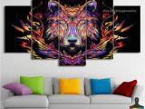 Cheetah Print Wall Murals 5 Pieces Home Decor Canvas Print Wall Art Abstract Colorful Animal