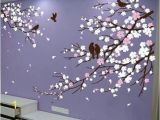 Cherry Blossom Mural On Walls Wall Art