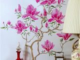 Cherry Blossom Wall Mural Stencil Beautiful Elegant Magnolia Flowers and Tree theme Pack