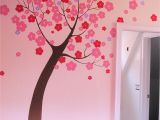 Cherry Blossom Wall Mural Stencil Hand Painted Stylized Tree Mural In Children S Room by Renee