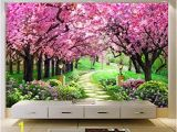 Cherry Tree Wall Mural Amazon Hwhz Customized Size 3d Wallpaper Cherry Tree