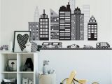 Chicago Skyline Wall Mural Cityscape Wall Decal Black and White City Skyline Wall Decal