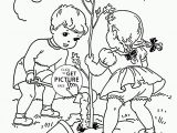 Child Face Coloring Page Children Plant Tree Coloring Page for Kids Spring Coloring