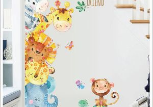 Childrens Painted Wall Murals Watercolor Painting Cartoon Animals Wall Stickers Kids Room Nursery Decor Wall Mural Poster Art Elephant Monkey Horse Wall Decal Australia 2019 From