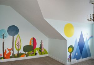 Childrens Painted Wall Murals Woodland Wall Mural