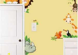 Childrens Wall Mural Stickers Jungle Animal Kids Baby Nursery Wall Stickers Poster Children Home