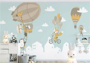 Childrens Wall Mural Stickers Kids Wallpaper Big Air Balloon Wall Mural Kids Landscape