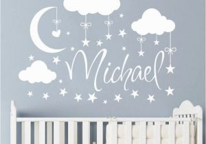 Childrens Wall Mural Stickers Personalized Name Wall Decal Clouds Moon Stars Wall Sticker Babys