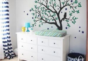 Childrens Wall Mural Stickers Tree Wall Decals Baby Nursery Tree Wall Sticker with Owl and