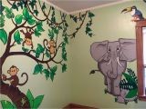 Childrens Wall Murals Painted Monkeys Elephant Kids Jungle themed Room Wall Murals Painting