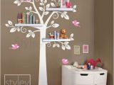 Childrens Wall Stickers Murals Children Shelf Tree with Birds Vinyl Wall Decal Owls Leaf Leaves Owl