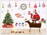 Christmas Murals for Walls 226 New Years Window Santa Claus Cristmas Tree Wall Stickers