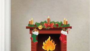 Christmas Murals for Walls Christmas Fireplace Wall Decal Mural Living Room Wall Decal Murals