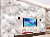 Christmas Murals for Walls Custom Modern Minimalist 3d Relief Circle Ball Flower Pattern Swan