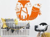 Christmas Murals for Walls God Tribal Fox Wall Decal Cute Woodland Fox Wall Sticker for Kids