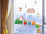 Christmas Party Wall Murals Amazon Christmas Shop Window Removable Santa Claus Snowman