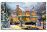 Christmas Scene Wall Murals Thomas Kinkade Victorian Family Christmas Illuminated Art Canvas