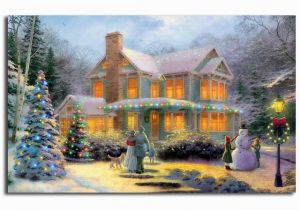 Christmas Scene Wall Murals Thomas Kinkade Victorian Family Christmas Illuminated Art Canvas