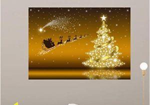 Christmas Vinyl Wall Murals Amazon Wallmonkeys Golden Christmas Card with Wall