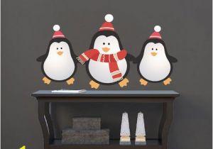 Christmas Vinyl Wall Murals Christmas Penguin Wall Decals Decor