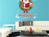 Christmas Vinyl Wall Murals Merry Christmas Claus Elk Window Wall Sticker Removable Diy