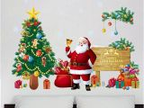 Christmas Wall Mural Plastic Christmas Tree Wall Stickers Santa Claus Gifts Sitting Room Bedroom