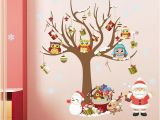 Christmas Wall Mural Plastic Christmas Wall Stickers Room Decor Cartoon Tree Snowman Santa Claus