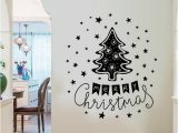 Christmas Wall Murals Uk Christmas Tree Wall Stickers Merry Christmas Wallpaper Cartoon Stars Wall Decals Waterproof Can Removable Self Adhesive Home Decor wholesale Wall