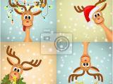 Christmas Wall Murals Uk Four Funny Christmas Reindeer Wall Mural