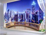 City Skyline Murals Wallpaper 3d Wallpaper City Building Night Landscape Wall Mural Living