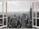 City Skyline Murals Wallpaper Huge 3d Window New York City View Wall Stickers Mural Art Decal