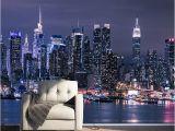 City Skyline Murals Wallpaper Modern New York City Night View Mural Wallpaper Living Room