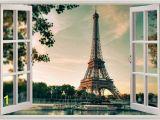 City View Wall Mural Eiffel tower Paris 3d Window View Decal Wall Sticker Decor
