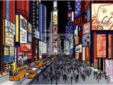 City View Wall Mural New York Night View Of Times Square Wall Mural • Pixers