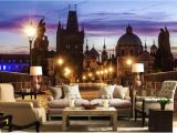 City View Wall Mural Wallpaper Retro Nostalgic European and American City Night View Wallpaper 3d the Wall Home Decor Living Room Wall Covering Widescreen Wallpaper