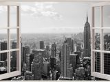 City Wall Murals Black and White Huge 3d Window New York City View Wall Stickers Mural