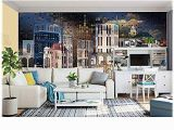 Cityscape Wall Mural Wallpaper Amazon Murwall City Wallpaper Dark Cityscape Wall Mural