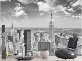 Cityscape Wall Mural Wallpaper Papel Murals Wall Paper Black&white New York City Scenery 3d Mural Wallpaper for Living Room Background 3d Wall Mural Flower Wallpapers Flowers